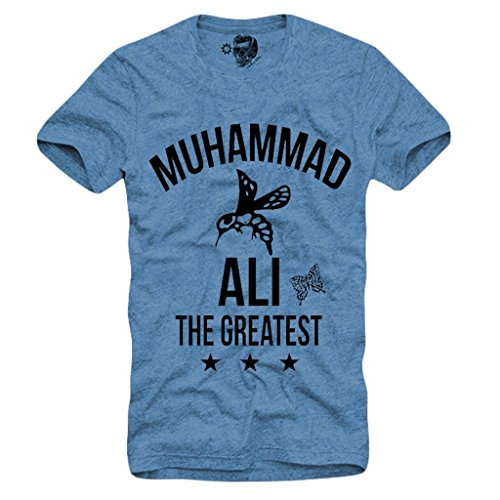 Arnoldo Blacksjd T-SHIRT MUHAMMAD ALI T-SHIRT- CASSIUS CLAY, Boxing Legend Gr. S-XL BLUE Large
