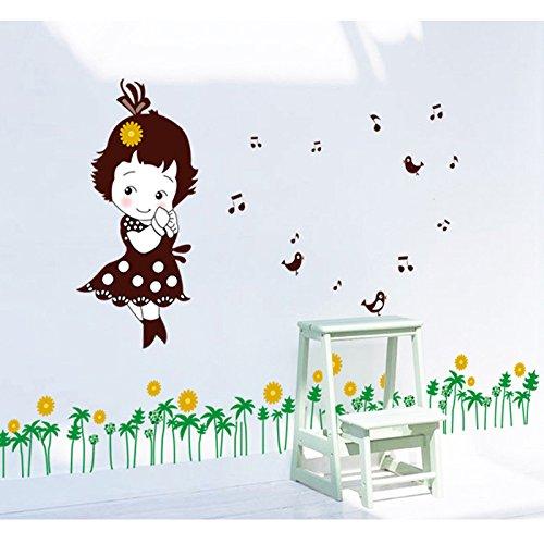 Shy Girl Birds Singing Music notes fiori foglie verdi adesivo PVC adesivo Home casa decorazione vinile carta da parati soggiorno camera cucina Art Picture DIY murale Girls Boys Kids Baby - Camera Shy