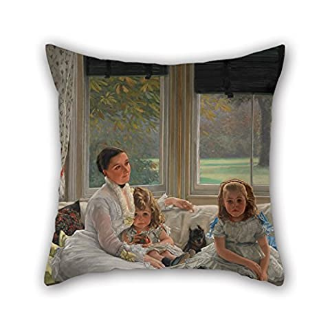 Artistdecor 18 X 18 Inches / 45 By 45 Cm Oil Painting James Tissot - Portrait Of Mrs Catherine Smith Gill And Two Of Her Children Pillow Covers,both Sides Is Fit For Coffee House,lover,shop,outdoor