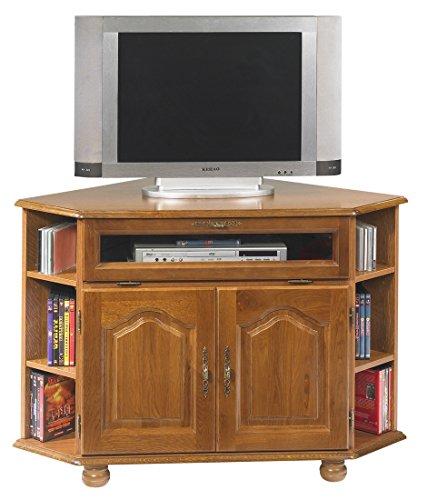 ACTUAL DIFFUSION Bretagne Meuble TV d'angle Chêne Rustique, Bois, 77,5x114x77 cm