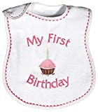 Raindrops My First Birthday Embroidered Bib, Strawberry/Hot Pink