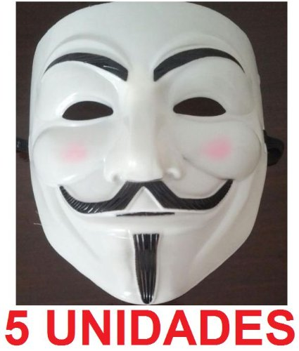 5 x MASCARA / CARETA V DE VENDETTA / VENDETA (5 UNIDADES) INDIGNADOS 15-M (BLANCA)