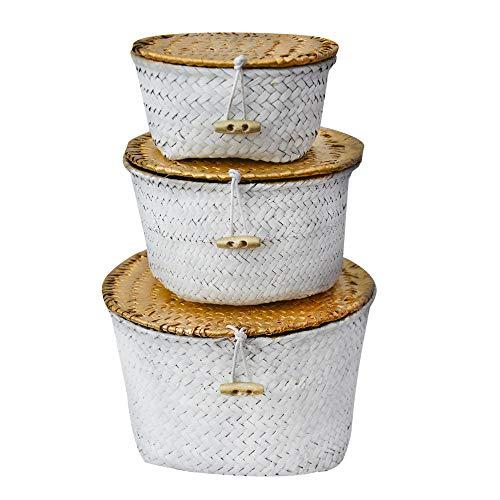 Cesta Mimbre de Almacenaje/Decorativa Blanca. Set de 3 cestas en Diferentes tamaños. Diseño Étnico/Boho.- Hogar y Más-