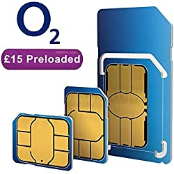 O2 dual/triple payg sim card (standard, micro & nano) Preloaded with £15 prepaid credit. Works on ALL unlocked mobile phones in the UK. Fits ALL phones & models like Samsung, Iphone, Nokia, etc