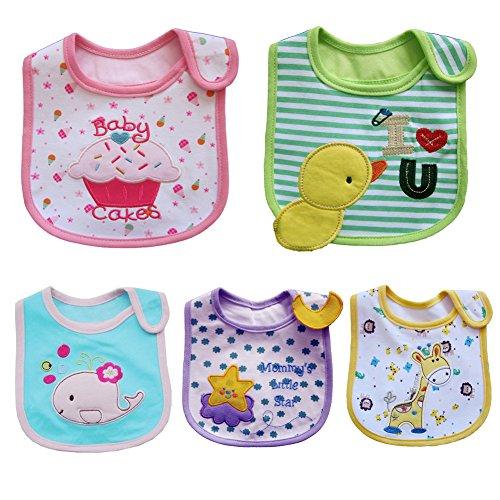 ElecMotive® 5 teilige Mädchen Jungen Babylätzchen Weiches Wasserdicht Lätzchen aus Cotto passen Neugeborenes Wasserdichtes Baby Lätzchen mit Klettverschluss 3-24 Monaten (D)