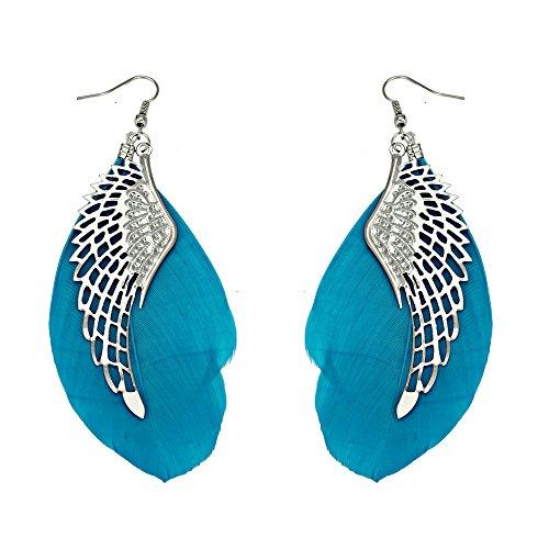 Redvive Top Engelsflügel Metall handgefertigt Vintage Feder Lange Ohrhänger 11cm blau