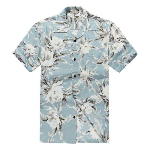 Camisa-hawaiana-de-los-hombres-Camisa-Hawaiana-Seda-artificial-5XL-Cielo-azul-de-Lirio-de-agua