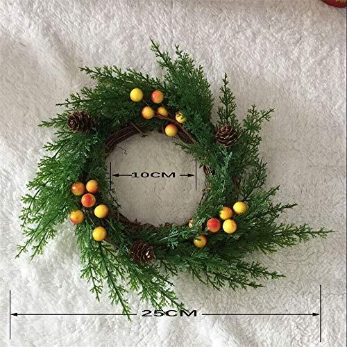 VHVCX Weihnachtskranz 25 cm Weihnachts-Blatt-Rebe Rattan Ring, Land Bare Ring Garlands, Chemische Girlanden, Weihnachts Türen Hängen Kranz.