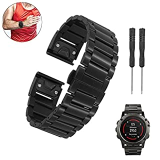 Bluelover Ersatz Titan Stahl Armband Strap Armband Armbanduhr Band Mit Schraubenzieher Für Garmin Fenix 5 - Schwarz