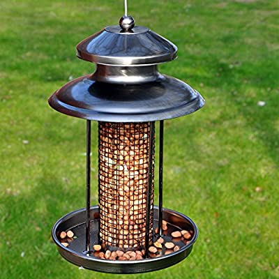 Kingfisher Easy Fill Wild Bird Nut Feeder, Peanut Pewter Lantern for Nuts by Happy Beaks from Happy Beaks