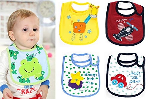 Wish key Baby Boy's Cotton Printed Feeding Bibs (Multicolour, 6 Months to 2 Years)- Set of 4