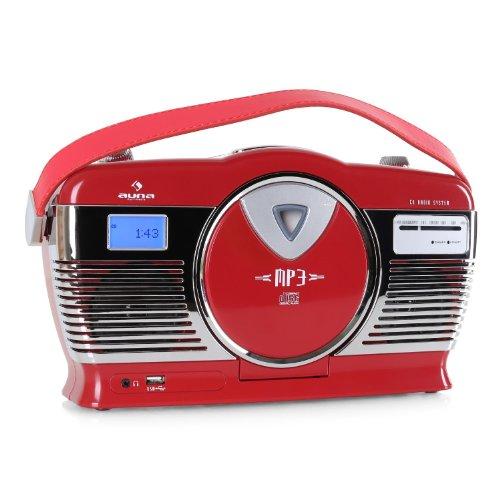 auna RCD-70 • UKW Radio • Retro Design • Nostalgie Look • MP3-fähiger USB-Port • Frontlader CD- / MP3-Player • programmierbare Wiedergabe • Zufallswiedergabe • LCD-Display • Tragegriff • rot