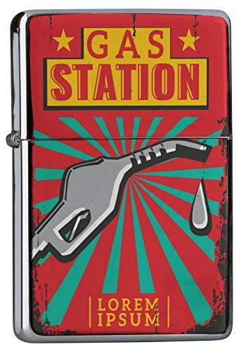 LEotiE SINCE 2004 Chrom Sturm Feuerzeug Benzinfeuerzeug aus Metall Aufladbar Winddicht für Küche Grill Zigaretten Kerzen Bedruckt Garage Tankstelle Tankstelle