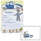 24-teiliges Einladungsset * POLIZEI * in DIN A5 vom Döll-Verlag // B34402 // 12 Einladungen und 12 Umschläge für Kindergeburtstag // Kinder Geburtstag Einladungskarten Einladung Karten Polizeiauto