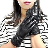 Yidainline Damen Klassische Touchscreen Lederhandschuhe aus Echt Lammleder