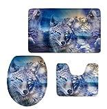 JHFVN Wolf King dreiteilige Teppich Toilette Toilette dreiteilige Bodenmatte Saugmatte