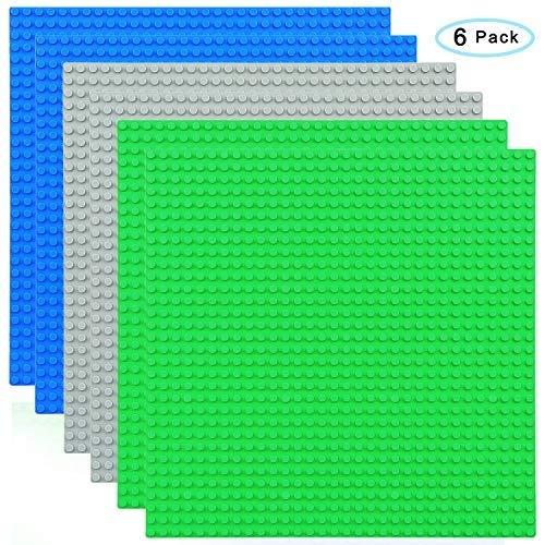 CMaster Bauplatten - 100 % kompatibel mit Allen führenden Marken Bausteine Grundplatte-zum Bauen von Türmen, Tischen & mehr - 10 x 10 (25,8 x 25,8cm) - 6 Stück - Blau, Grau&Grün ...