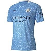 PUMA Camiseta Oficial Temporada 20/21 Home Manchester City FC Replica con Sponsor Logo, Hombre, Team Light Blue-Peacoat, S