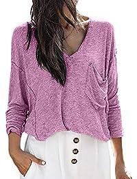 Selou Damen Freizeithemd Tasche lose oben Strickwaren Langarm-Sweatshirt Einfarbig oben Pullover Sweatshirt Herbst Winter GewürzhemdBequeme Sportbekleidung Sexy Streetwear