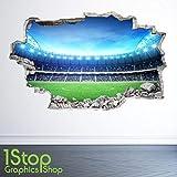 1Stop Graphics Shop Stade DE Football Autocollant Mural 3D Look - garçons Chambre d'enfant Autocollant Mural Z29 - Large: 70 cm x 111 cm