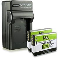 Chargeur + 2x Batterie EN-EL12 pour Nikon CoolPix AW100 AW100s AW110 AW120 AW130 P300 P310 P330 P340 S31 S70 S610 S610c S620 S630 S640 S710 S800c S1000pj S1100pj S1200pj S6000 S6100