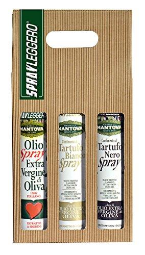 Confezione 3 x 200 ml spray: olio extravergine d'oliva, condimento al tartufo nero e al tartufo bianco