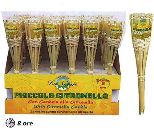 Taschenlampe Aus Bambus 30cm mit Kerze Citronella Brenndauer 8Stunden Geschenk bri492 - Enrico Bambus