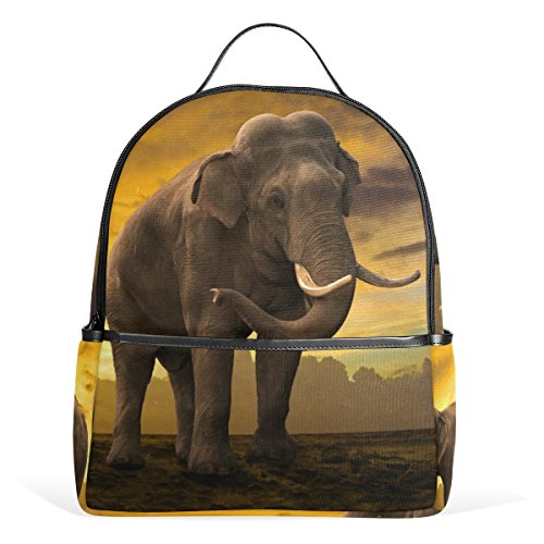 COOSUN Familia de Elefantes en Sunset Mochilas Escolares Mochilas para Las Muchachas...