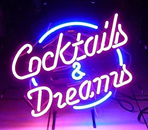 COCKTAILS AND DREAMS Real Glass Neon Light Sign Home Beer Bar Pub Recreation Room Game Room Windows Garage Wall store Sign (17