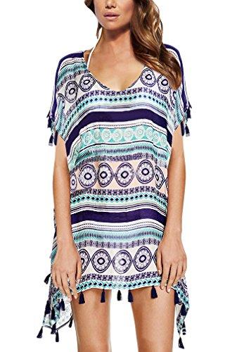 Strandponcho Strandkleider Bikini Cover Up Sexy Beach Bikini Dress Damen Bademode Boho Sommerkleid große größen Sommer Blusen Strandhemd (Cover Up Kleid Badeanzug)