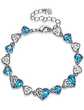 PAULINE&MORGEN Liebe in Island Armband für Damen mit SWAROVSKI Steinen blaues Herz