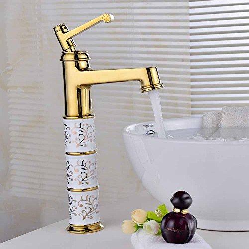 Preisvergleich Produktbild SBWYLT-Hochwertigen Gold-Kupfer-Becken tippt, Einlochmontage blonde heiße und kalte Badezimmerhahn, stilvolle erhöhten Keramik Wasserhahn