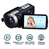 Camcorder Videokamera Full HD 1080p 24.0MP Digitalkamera 3.0 Zoll 270 Grad drehbarer Bildschirm Video Recorder Pause Funktion mit Fernbedienung