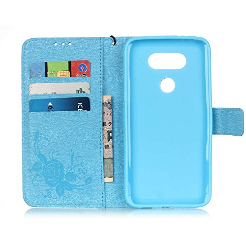 SainCat Coque Etui pour LG G5, LG G5 Coque Dragonne Portefeuille PU Cuir Etui, Coque de Protection en Cuir Folio Housse, SainCat PU Leather Case Wallet Flip Protective Cover Protector, Etui de Protect Fleur de papillon,Bleu