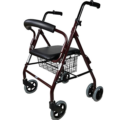 Rollator für Senioren Prado aus Aluminium | Mobiclinic | Gehhilfe mit Druckbremsen | 2 rotierbaren Vorderräder und 4 Hinterräder | elegantes Design | mit gepolstertem Sitz und Warenkorb | TOP SALES