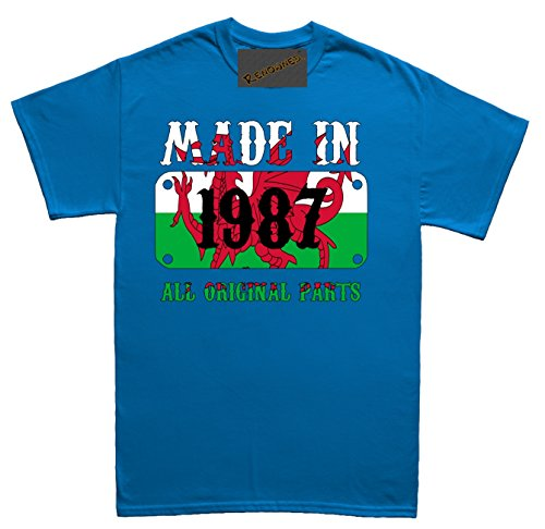 Renowned Made in Wales in 1987 all original Parts Welsh Flag inside Unisex - Kinder T Shirt Blau