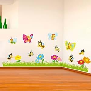 Wall sticker adesivo murale il prato con le api e le for Stickers murali cucina