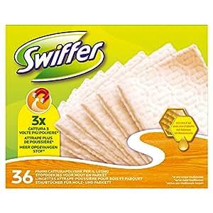 Swiffer - Recharges de Lingettes Attrape-Poussières pour Surface en Bois - Pack de 36 Lingettes