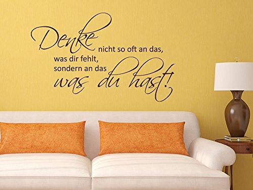 Preisvergleich Produktbild Graz Design 720433_57_070 Wandtattoo Wandaufkleber Wand Deko Spruch Denke nicht viel für Wohnzimmer (Größe=93x57cm / / Farbe=Schwarz)