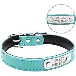 Collar para perros Berry de cuero, ajustable, con chapa de nombre grabada personalizable, se adapta a gatos y perros pequeños y medianos
