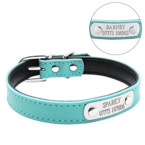 "Berry Soft PU Leather Padded Solid Personalized Dog Cat Collar,Blue,XS Neck Size 7.5-10""(19-25cm)"