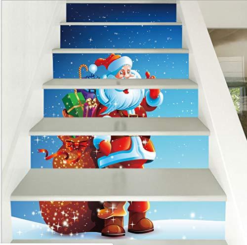 Weihnachten dress up treppen aufkleber schnee weihnachtsmann schritte dekorative wandaufkleber 100 * 18cm * 6psc -