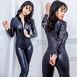 Myf Damen Sexy Pu Leder Catsuit Teddy Clubkleidung,S