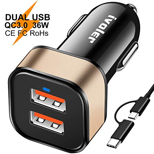 ivoler Voler Due Quick Charge 3.0 36W 2 Porte Caricatore USB da Auto [2X QC 3.0 Porte] con Cavo (1m) + Cavo 2 in 1 Type C e Micro USB Cavo Ricarica (1m)(Nero/Oro)