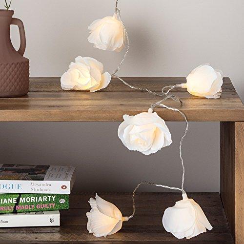 20er LED Stoff Rosen Lichterkette cremefarben warmweiß Innen Lights4fun