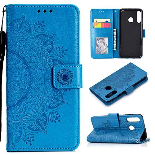 HTDELEC Huawei P30 Lite Caso Premium Pu Azul De Couro Anti-Slip Slot De Proteção Carteira De Corpo Inteiro De Proteção Da Aleta Da Carteira Slim Fit Capa (T-Azul)