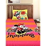 Bombay Dyeing Disney Classic Single Bedsheet with 1 Pillow Cover - Pink and Yellow