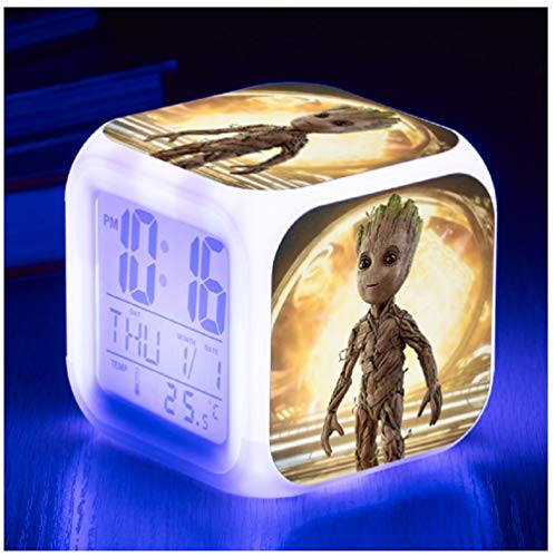 WKZZ LED-Wecker, Film-Rolle, Baby-Groot-beleuchtet, quadratisch, Kunststoff, Kalender, Wecker, Wecker, mit Dimmer und LCD-Display für Schlafzimmer -
