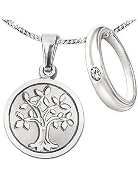 CLEVER SCHMUCK-GRAVUR-SET Silberner Anhänger Lebensbaum Ø 12 mm matt mit Baum glänzend Rückseite matt mit Ihrer...