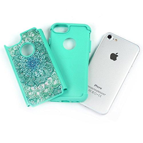 Mavis's Diary Coque iPhone 7 TPU&PC 2 en 1 Bling Strass Motif Dessin Rose Housse de Protection Étui Téléphone Portable Phone Case Cover+Chiffon vert